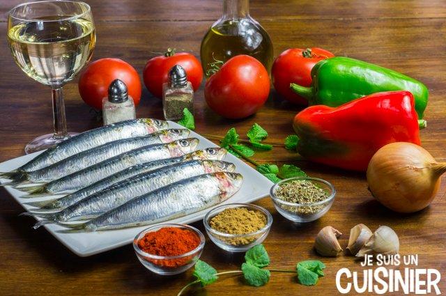 Filets de sardines à la sauce tomate et poivrons (ingrédients)
