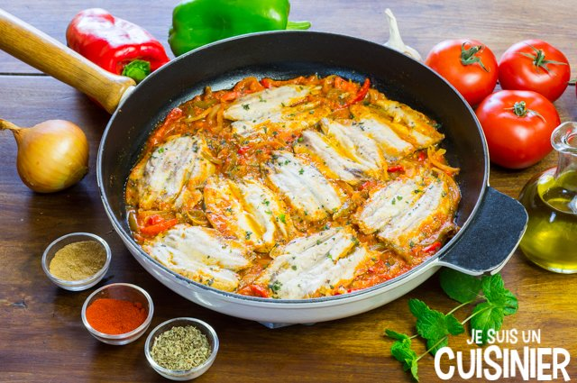Filets de sardines à la sauce tomate et poivrons