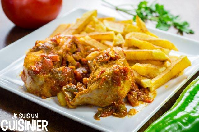 Lapin à la tomate et aux poivrons (assiette)