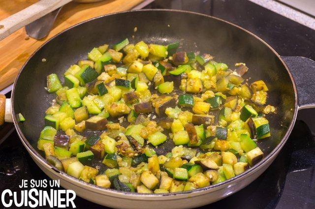Poêlée de légumes aux champignons et lardons (courgette et aubergine)