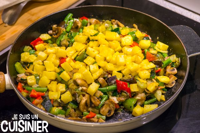 Poêlée de légumes aux champignons et lardons (fites)