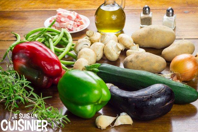 Poêlée de légumes aux champignons et lardons (ingrédients)