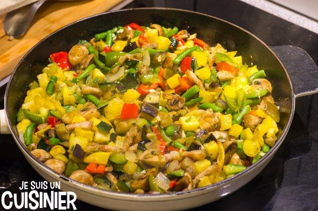Poêlée de légumes aux champignons et lardons (mélanger les frites)