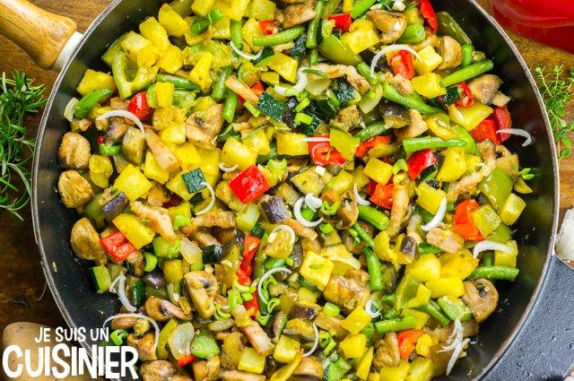 Poêlée de légumes aux champignons et lardons