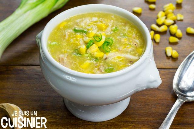 Soupe de poulet au maïs doux