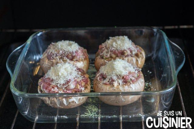 Champignons farcis au four (cuisson)