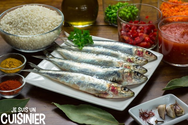 Paella aux sardines (ingrédients)