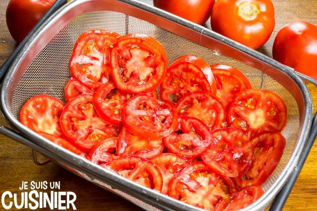 Tarte à la tomate et moutarde (dégorger)