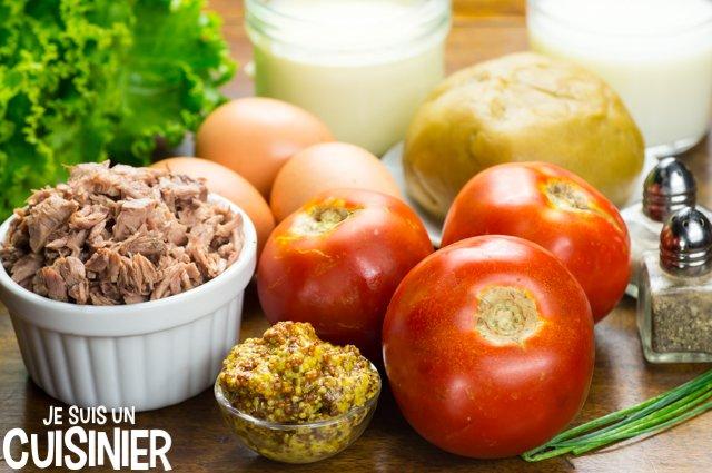 Tarte au thon, tomate et moutarde (ingrédients)
