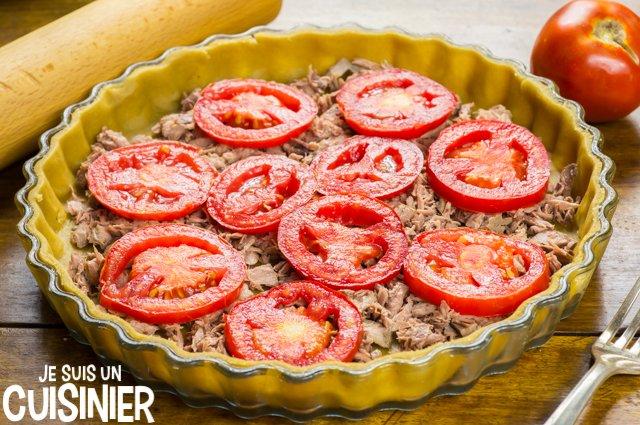 Tarte au thon, tomate et moutarde (tomates)