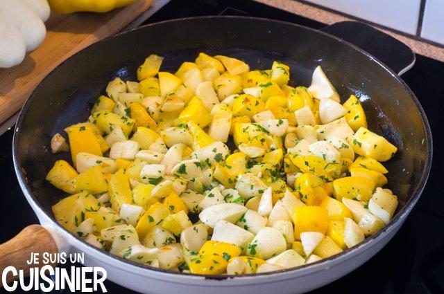 Poêlée de pâtisson à l'ail et persil (cuisson)