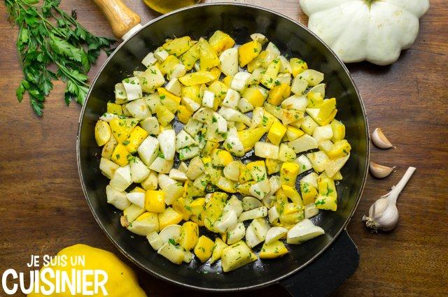 Poêlée de pâtisson à l'ail et persil (recette)