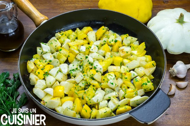 Poêlée de pâtisson à l'ail et persil