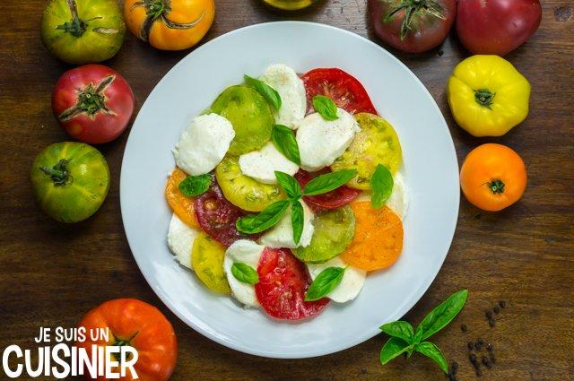 Salade tomate mozzarella multicolore