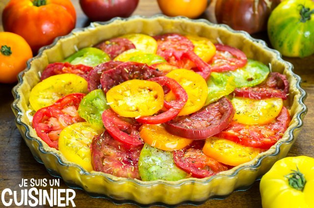 Tarte aux tomates anciennes multicolores (garniture)