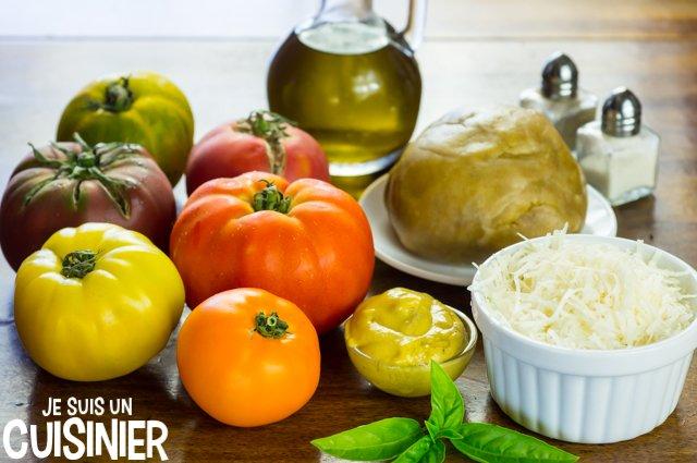 Tarte aux tomates anciennes multicolores (ingrédients)