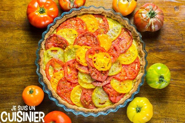Tarte aux tomates anciennes multicolores (recette)