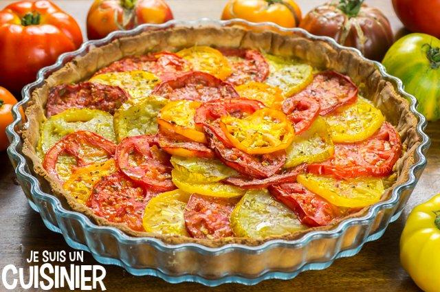 Tarte aux tomates anciennes multicolores