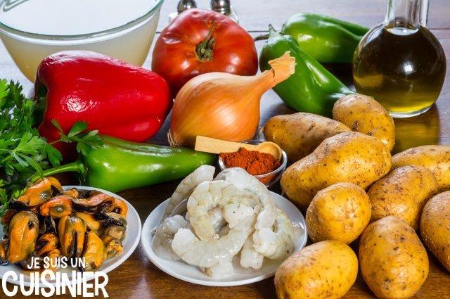 Ingrédients pour le ragoût de pommes de terre aux fruits de mer