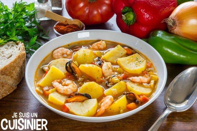 Ragoût de pommes de terre aux fruits de mer