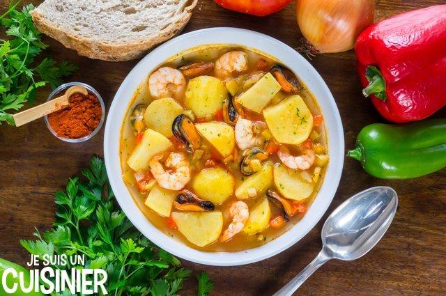 Recette de ragoût de pommes de terre aux fruits de mer