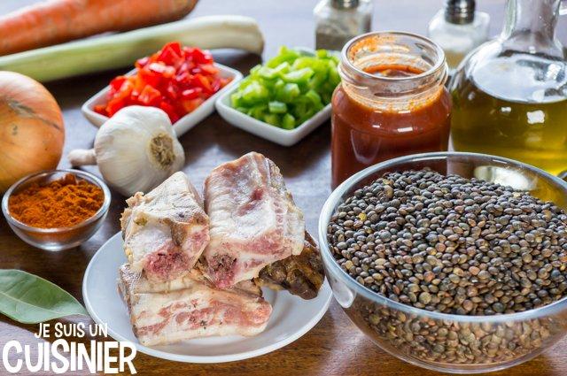 Travers de porc aux lentilles (ingrédients)