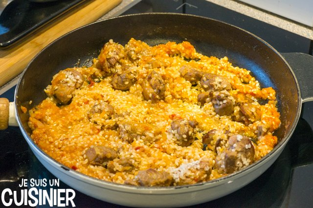 Paella au canard (nacrer le riz)