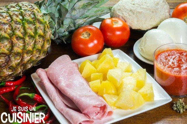 Pizza hawaïenne à l'ananas (ingrédients)