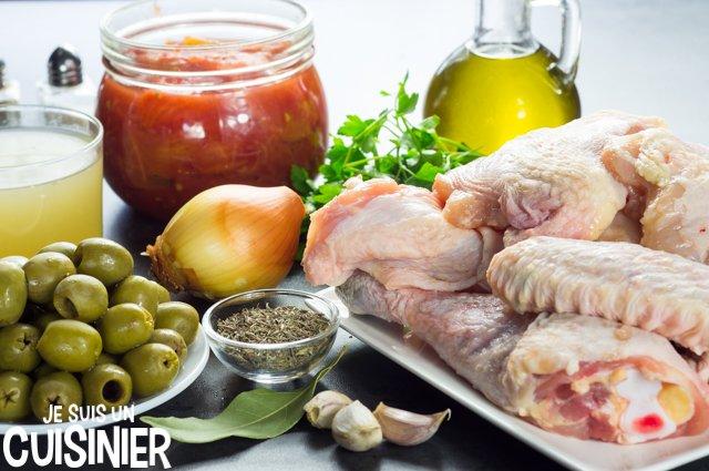Poulet aux olives et sauce tomate (ingrédients)
