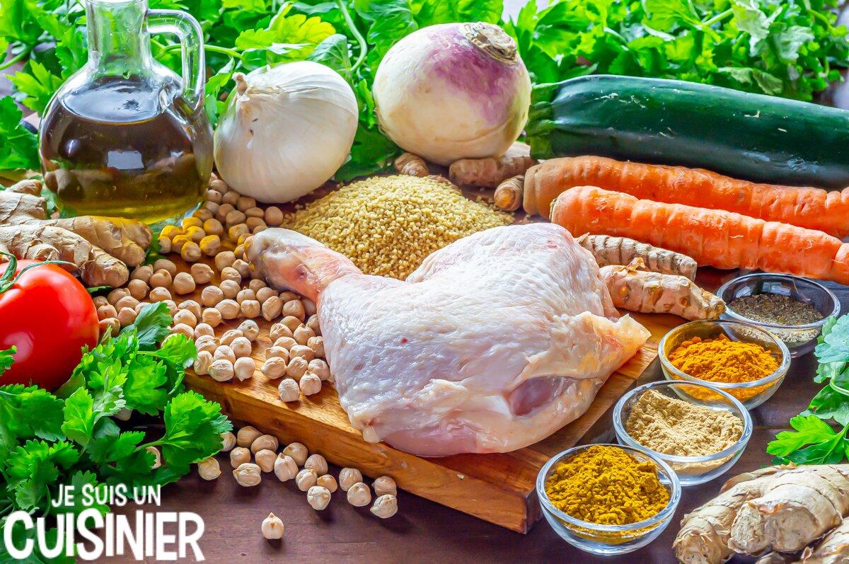 Ingredientes de couscous au poulet et légumes