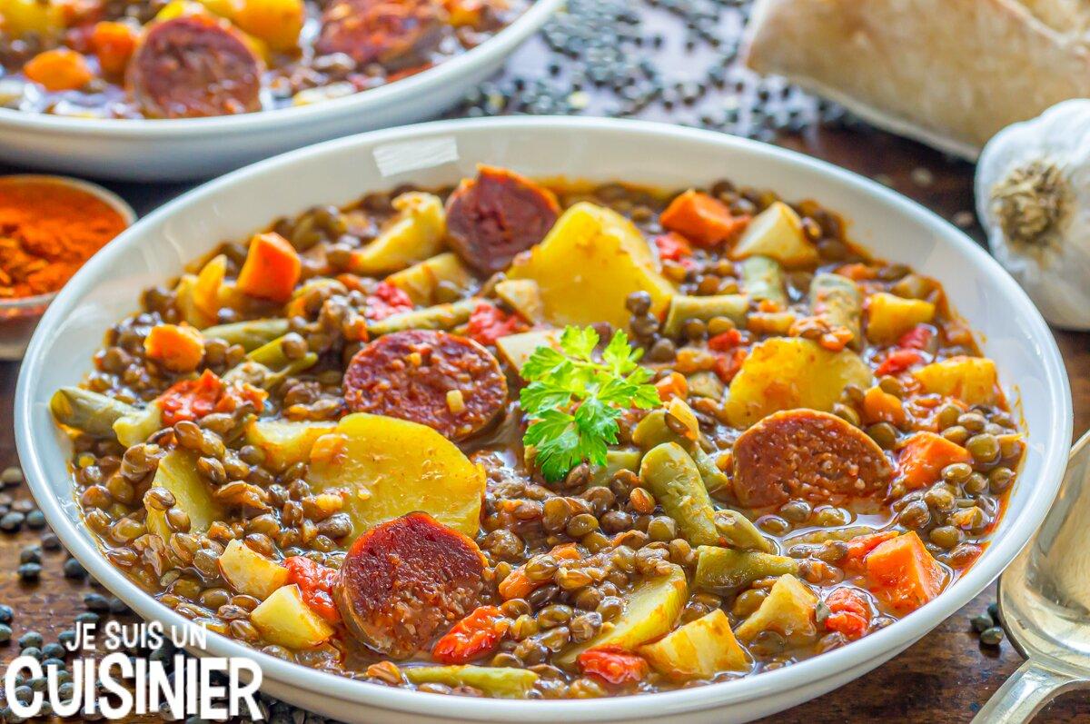 Lentilles au chorizo et légumes