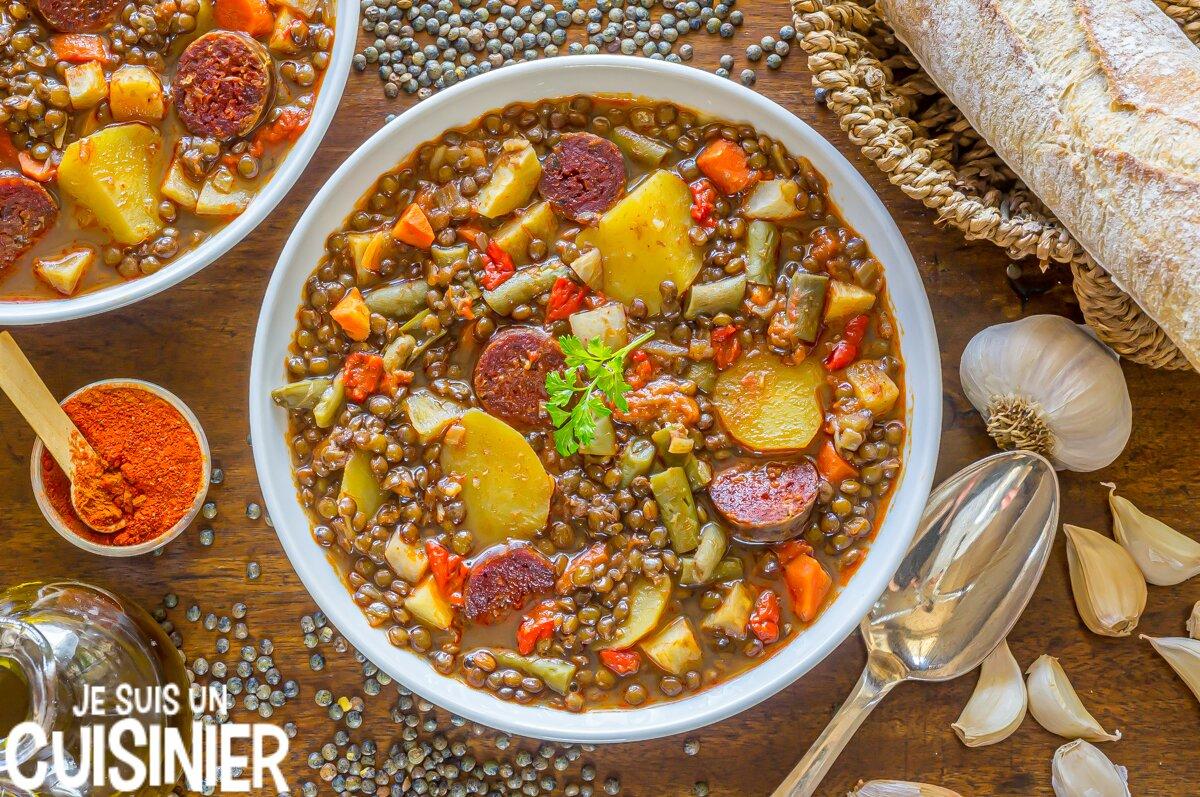 Recette de lentilles au chorizo et légumes