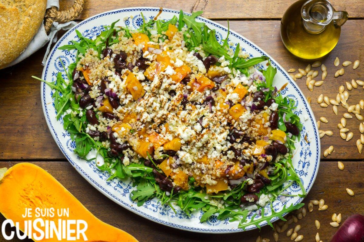 Salade courge rôtie, haricots et feta