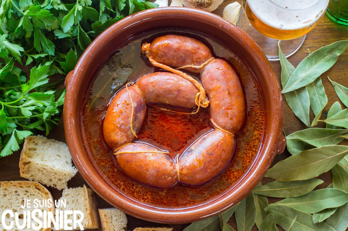 Chorizo à la bière (tapas espagnoles)