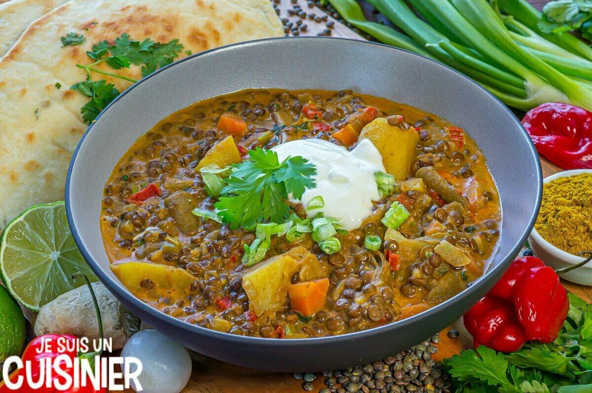 Curry de lentilles vertes et légumes