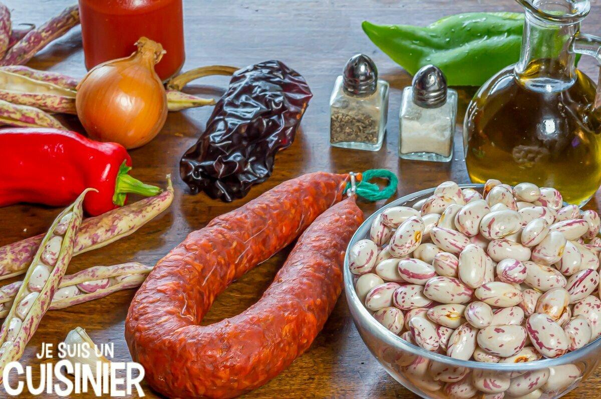 Ingrédients haricots coco au chorizo