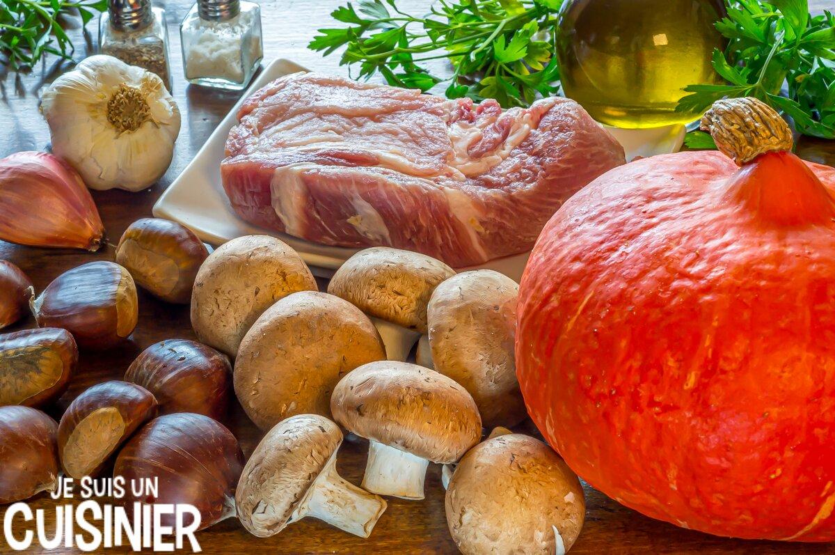 Ingrédients pour potimarron farci aux champignons et aux châtaignes