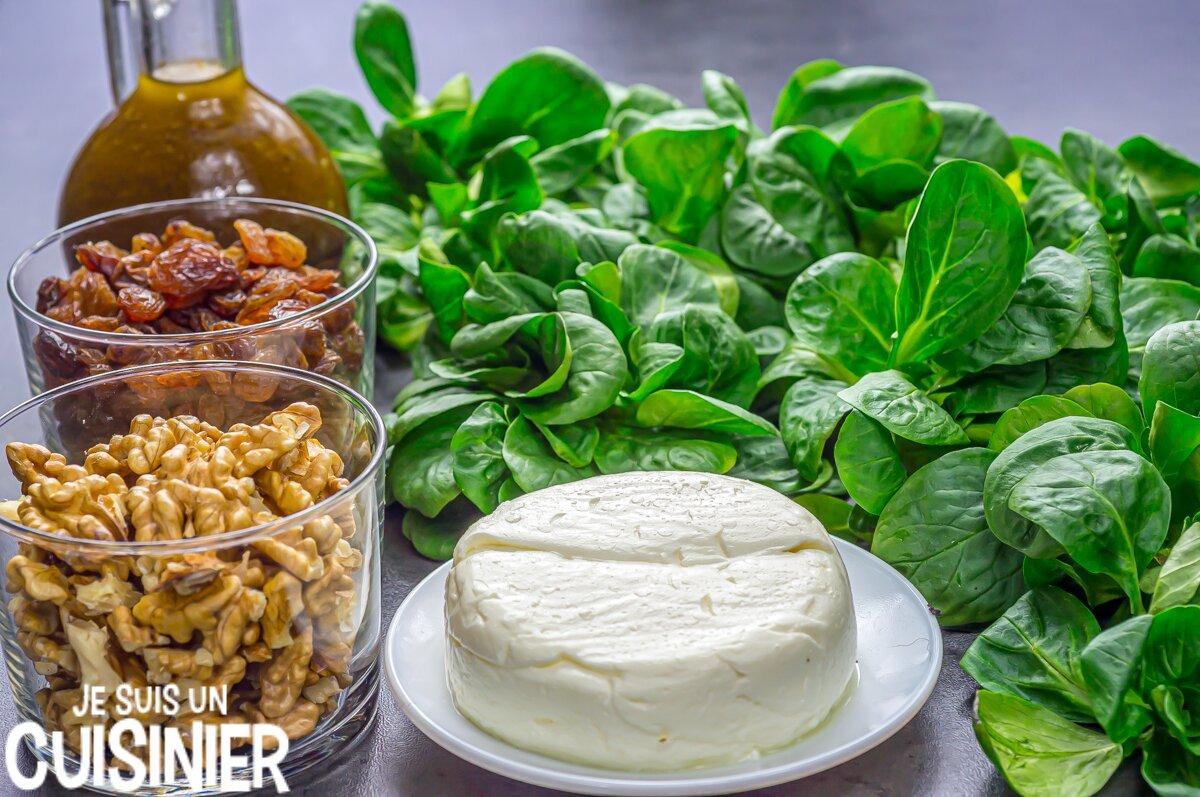 Ingrédients pour salade de mâche aux noix et fromage frais
