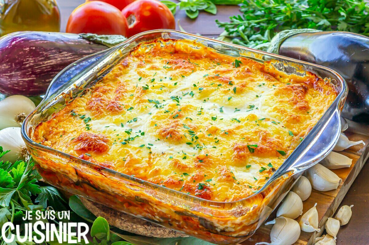 Lasagnes d'aubergines à la viande et fromage