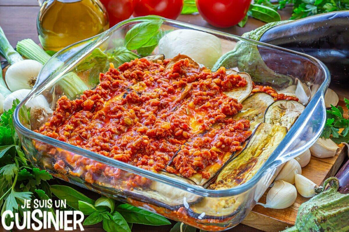 Lasagnes d'aubergines à la viande (garniture)