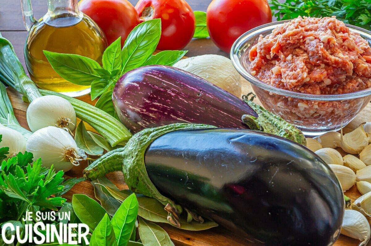 Lasagnes d'aubergines à la viande (ingrédients)