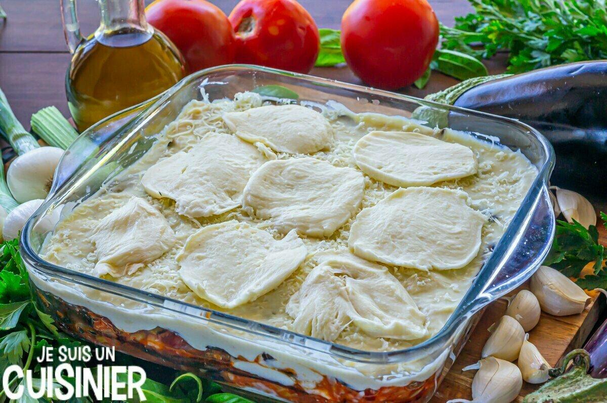 Lasagnes d'aubergines à la viande (mozzarella)