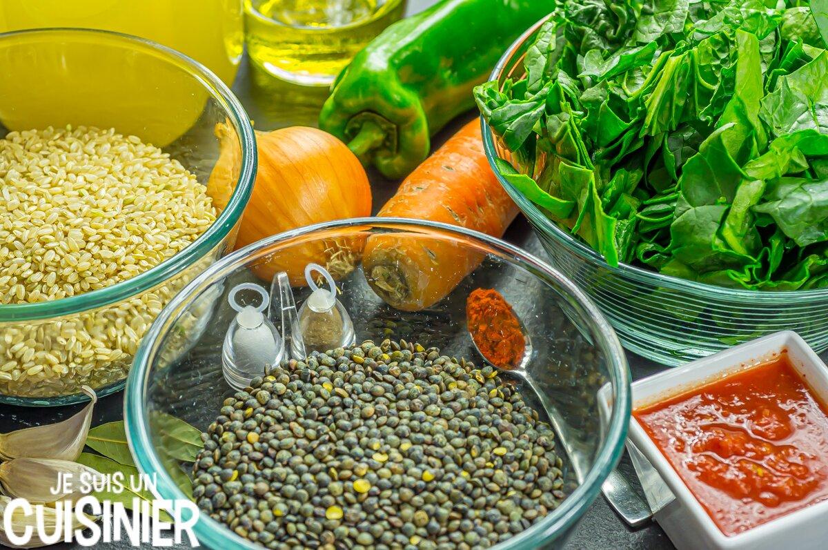Lentilles au riz et aux épinards (ingrédients)