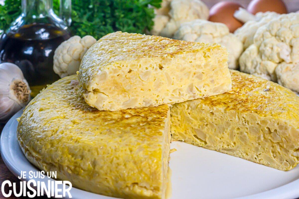 Omelette au chou-fleur façon tortilla espagnole