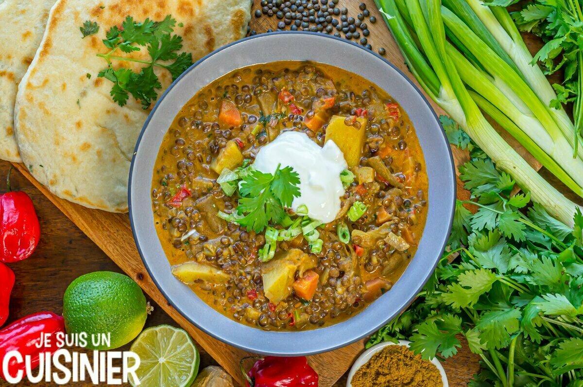 Recette de curry de lentilles vertes et légumes