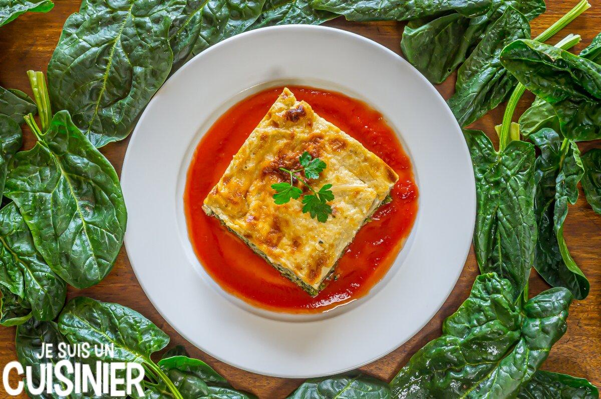 Recette de lasagnes aux épinards, ricotta, mozzarella et parmesan