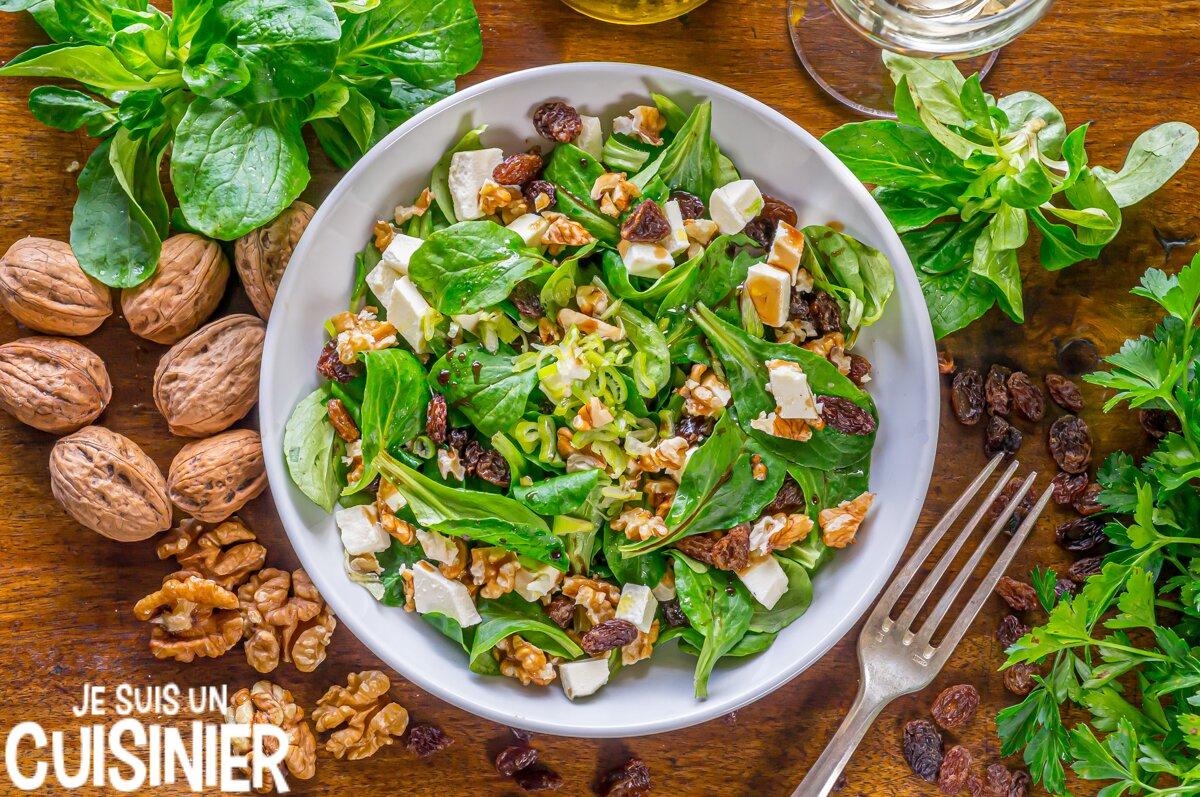 Recette de salade de mâche aux noix et fromage frais