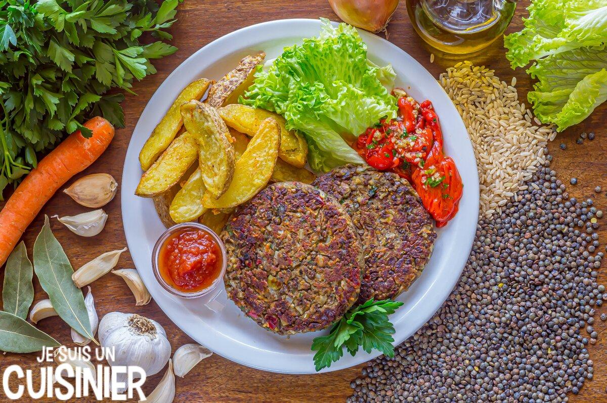 Recette de steak de lentilles au riz et légumes