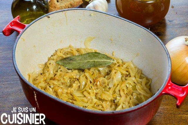 Soupe à l'oignon gratinée (oignon confit)