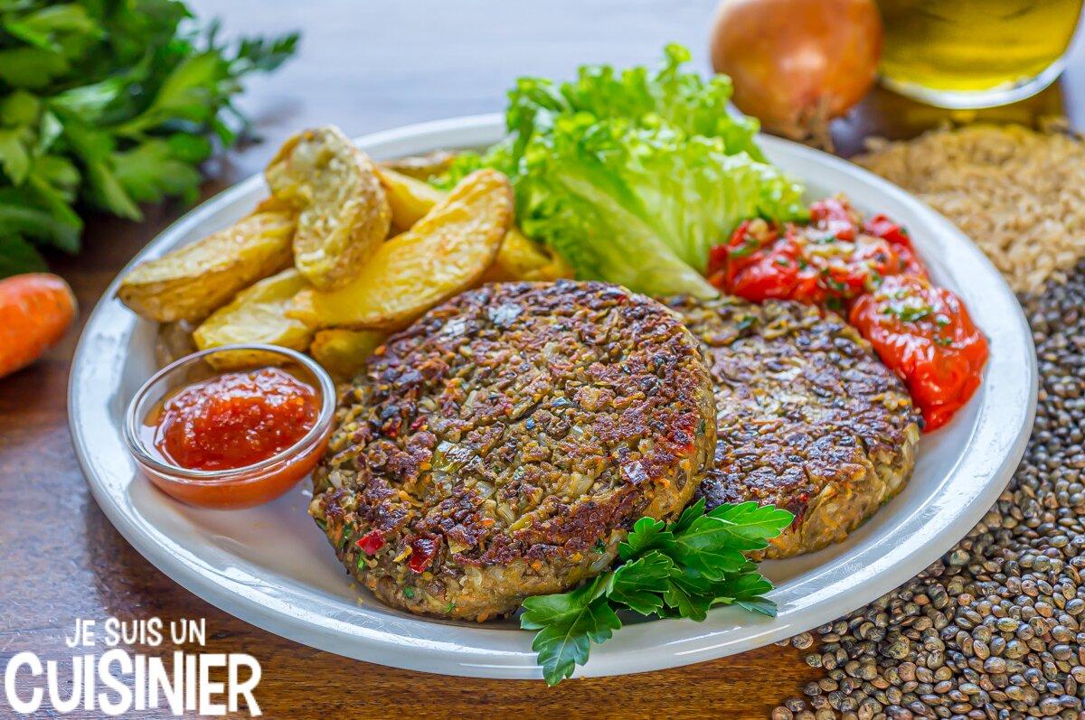 Steak de lentilles au riz et légumes